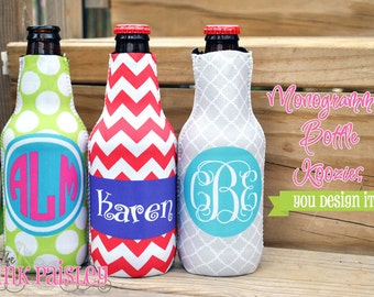 Personalized Monogrammed Bottle Coosie Hugger Coolie