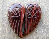 30mm Red Tigers Eye Carved Gemstone Wings Pair (3ea)