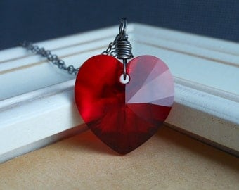 Red Heart Necklace, Swarovski Crystal Heart and Oxidized Sterling Silver.  Passion.
