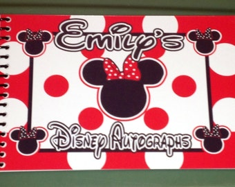 Personalized  Disney Autograph Book Mickey Mouse and Minnie Mouse Red, Pink or Blue Polka Dot