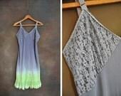 Ombre Dark Grey/Neon Hand Dyed Slip Dress: 36 Medium