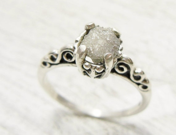 Rough Uncut Diamond Ring Sterling Silver Engagement Ring
