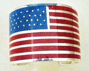 Navajo Sterling Silver American Flag Mens Cuff Bracelet
