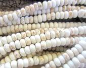 50 White Turquoise beads 6mm x 4mm howlite gemstone rondelles cream white beads G109-E2