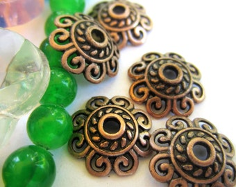 24 Red copper bead caps 12mm x 12mm flower lace diy jewelry making 60309-V3