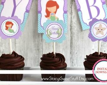 Little Mermaid Inspired Cupcake Toppers, DIY, Printable, INSTANT DOWNLOAD