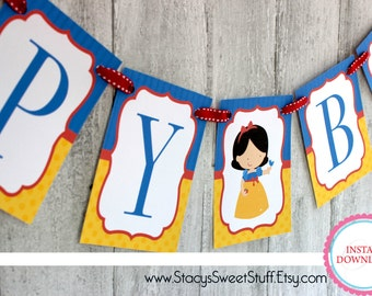 Snow White Inspired Birthday Banner, DIY, Printable, INSTANT DOWNLOAD