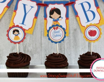 Snow White Cupcake Toppers, DIY, Printable, INSTANT DOWNLOAD