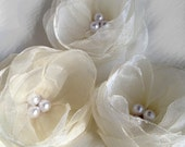 6 pieces Ivory  organza flowers with pearls