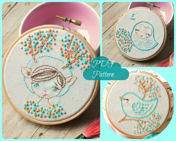 Pdf Hand Embroidery Pattern Deer Girl Owl And Bird