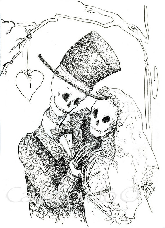 Pen and ink drawing skeleton wedding halloween wedding Day