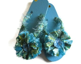 Flip Flops Flower Decorated Turquoise Green Print