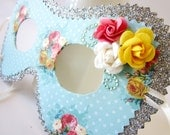 Silver and Robins Egg Blue Shabby Chic Polka Dot and Rose Bouquet Masquerade Mask