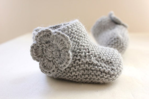 Sweet Heather Grey Baby Shoes - Booties - Boots - in Pure Baby Alpaca - by Tafferty Designs - Ready to ship