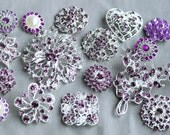 10  Amethyst Eggplant Lavender Purple Rhinestone Button Brooch Assorted Pearl Crystal Embellishment Wedding Bouquet BT997