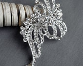 Rhinestone Brooch Component Crystal Flower Bridal Hair Comb Shoe Clip Pin Wedding Cake Decoration Invitation BR077