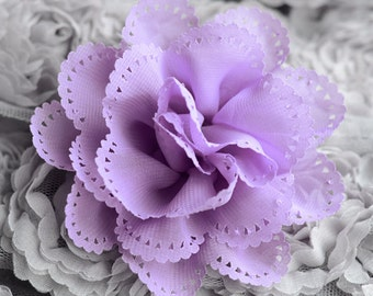 2 Chiffon Chic Rose Flower Lavender Purple Silk Bridal Wedding Baby Hair Comb Bow Headband Clip FREE Combine Shipping US SF085