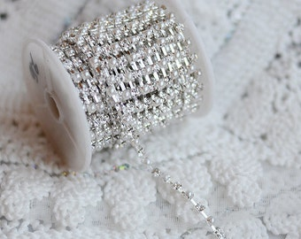 3 Feet Rhinestone and Pearl Chain Australia Crystal Silver SS16 4mm Wedding Cake Decoration Brooch Bouquet Jewelry Supply RC056