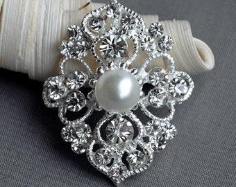 5 Large Rhinestone Button Embellishment Pearl Crystal Wedding Brooch Bouquet Invitation Cake Decoration Hair Comb Clip BT476