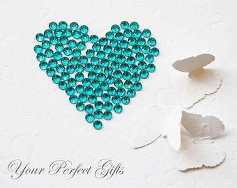 100 pcs Acrylic Round Faceted Flat Back Rhinestone 7mm Teal Blue Scrapbooking Embellishment Nail Art LR040