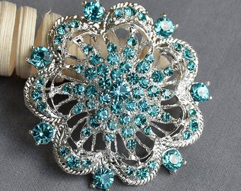 Teal Blue Aqua Blue Rhinestone Brooch Crystal Wedding Bridal Button Brooch Bouquet Cake Decoration Hair Comb Shoe Clip BR229