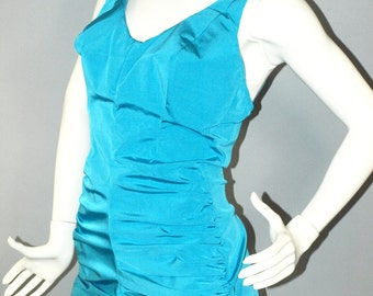 40s 50s Vintage ROXANNE Perfection Fit Turquoise Pin Up Coffin Pleated Swim Suit Bathing Suit B38