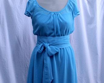 Bridesmaid Ligth Blue Chiffon Dress, Wedding Guest, Reception, Formal, Ready made, Custom