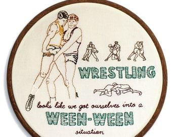 """Wrestlers Hand Embroidery - 8"""" Hoop"""