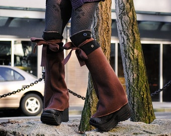 Brown and Black Polar Fleece Steampunk Spats, Knee High Shoe Boot Covers Leg Warmers, Victorian Costume Clothing Accessories
