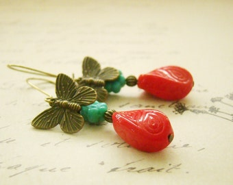 Turquoise acrylic flower, red glass, brass, butterfly, charm, earrings, oriental, chinese, asian