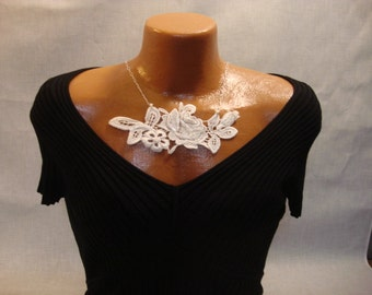 Floral Beaded Off White Lace Necklace on Sterling Silver Chain