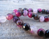 Faceted Pink & Black Crackle Agate 8mm Round Beads 12 Inch Strand