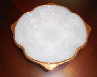 MILK GLASS FRUIT or Serving Bowl On Pedestal