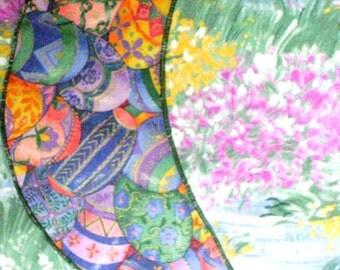 Reversible Handmade Summer cottage chic and Pastel designer cotton Easter egg print table runner