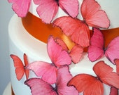 new BUY 50 get 7 FREE edible butterflies  - orange wedding - wedding cake decoration -  edible cupcake decorations by Uniqdots on Etsy