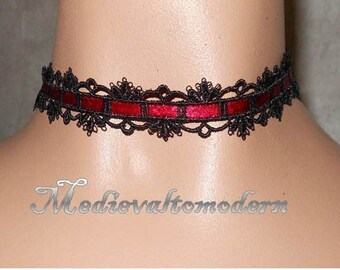 Black Venise Small Red Brocade Victorian Gothic Choker by Medievaltomodern