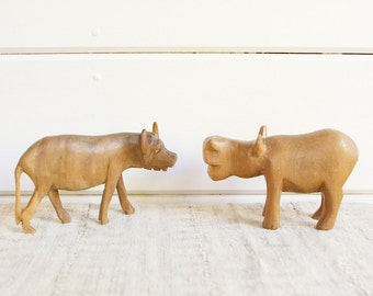 Vintage Hand Carved Wooden Water Buffalo and Hippo