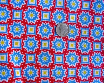 Vintage FEEDSACK Feed sack Cotton Quilting Fabric  - TINY YELLOW Flowers on Red Background  -  - 36 x 42