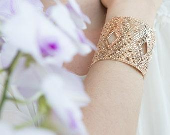 Rose Gold cuff, Wide Rose gold bangle, Diamond design, Rose gold bracelet, Designer's bracelet, Modern cuff, Rose gold jewelry
