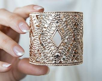 Rose gold jewelry, Rose Gold cuff, Rose gold bracelet, Cuff bracelet, Statement Cuff, Greek cuff, Modern jewelry, Wide rose gold cuff