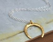 HORSESHOE NECKLACE sterling silver necklace with vintage gold plated over brass 3d horseshoe charm