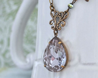 VINTAGE ALEXANDRITE antiqued brass necklace with large oversized pear shaped glass jewel