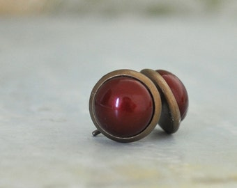 MAROON Swarovski glass pearl earrings antiqued brass stud earrings with steel posts