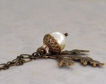 TINY ACORN creamrose Swarovski pearl acorn necklace in antiqued brass