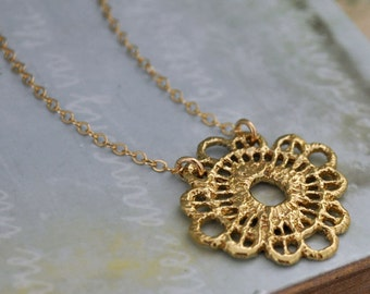 dainty bridsmaid jewelry necklace - VINTAGE LACE -solid cast brass lace necklace with 14k gold filled chain bridal bridesmaid jewelry