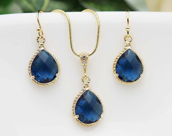 Wedding Jewelry Bridesmaid Jewelry Bridesmaid Earrings Bridal Jewelry Sapphire Gold Trimmed Pear Cut Bridesmaid gift