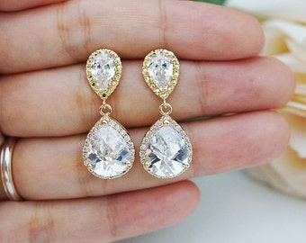 Wedding Jewelry Bridal Jewelry Bridal Earrings Clear White LUX Cubic Zirconia Tear drops Earrings