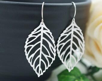Jewelry Dangle Earrings Matte Rhodium leaf charm Earrings . For Her. Gift for Her . Gift Under 20 Gifts