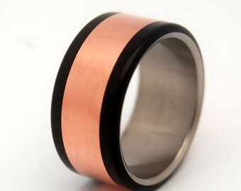 Wedding ring, copper ring, men's ring, women's ring, titanium ring, titanium wedding ring, black ring - COPPER HEDONISM