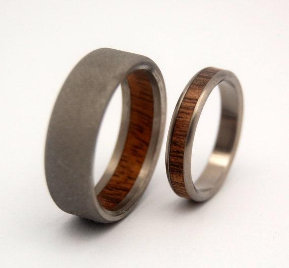 Wooden Wedding Rings Koa Wood Titanium Wedding Set Mens